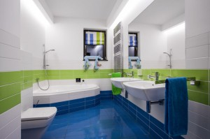 42293310 - horizontal view of modern colorful bathroom interior