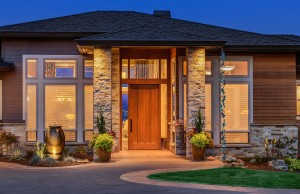 50555897 - front elevation of luxury home in evening